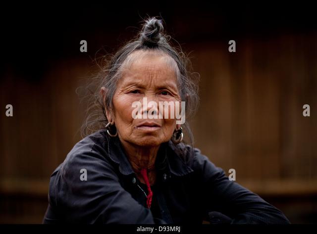 Hmong Minority Old Woman, Muang Sing, Laos - Stock-Bilder