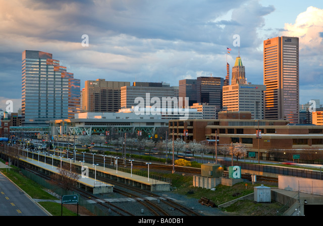 Skyline of Baltimore, Maryland from the south. USA. - Stock Image