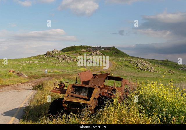The Golan Heights Tel Saki site of a fierce battle in the Yom Kippur war - Stock Image