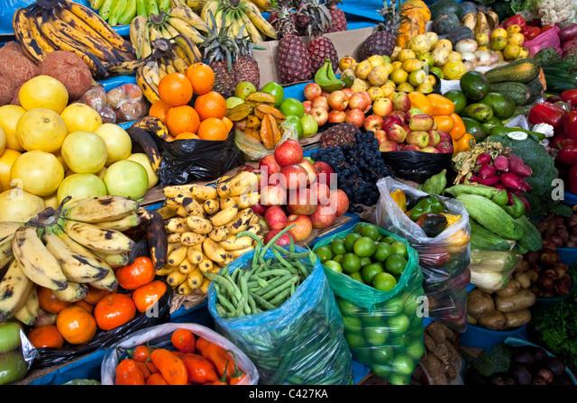 Peru, Cajamarca, Fruit at market. - Stock Image