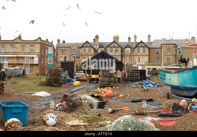 Aldeburgh Fish Shops Backyard - Stock Image