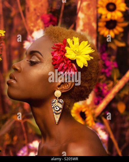 Flower Woman - Stock Image