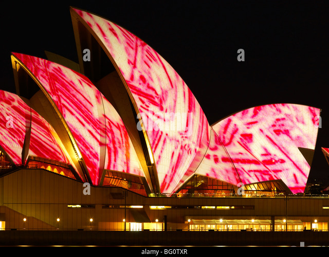 Festival of Light, Sydney Opera House, UNESCO World Heritage Site, Sydney, New South Wales, Australia, Pacific - Stock Image