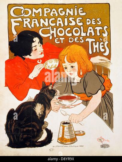 Théodore Alexandre Steinlen Compagnie Française des Chocolats et des Thés (French Chocolate and Tea - Stock Image