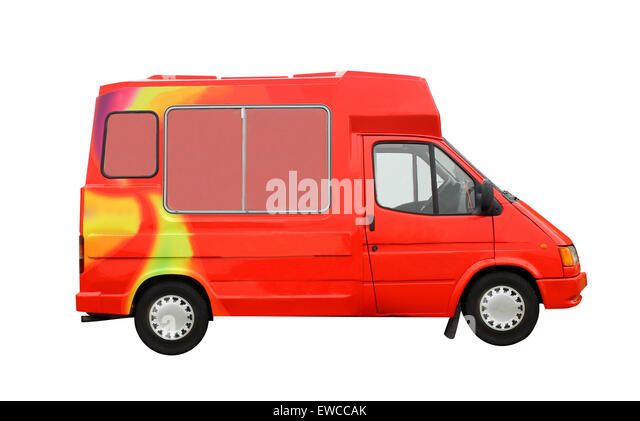 Ice Cream Truck isolated on a white background. - Stock Image