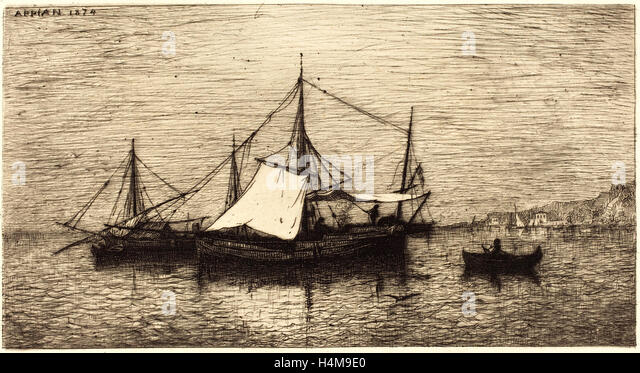 Adolphe Appian, French (1818-1898), Coasting Trade Vessels, Italy, 1874, etching - Stock-Bilder