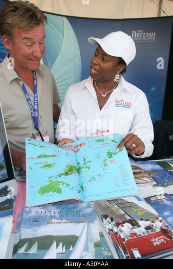 Florida Biscayne Bay Miami International Boat Show Bayside Marina British Virgin Islands booth tourism promotion - Stock Image