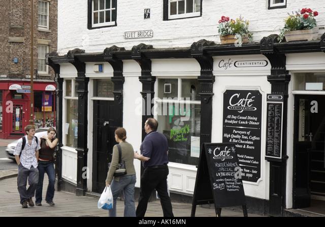 UK, England, Durham, Elvet Bridge, Cafe Continental, - Stock Image