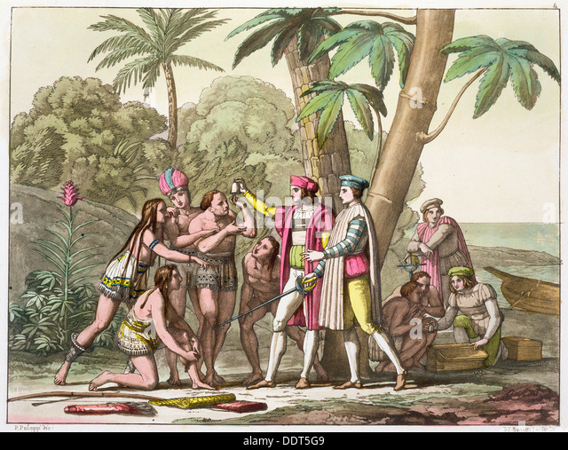 Christopher Columbus with Native Americans, 1492-1503 (c1820-1839). Artist: DK Bonatti - Stock Image