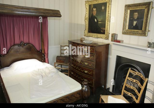 England UK Haworth Church Street Bronte Parsonage Museum Bronte Sisters writers novelists bedroom - Stock Image