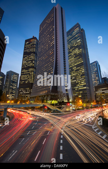 Tokyo, Japan financial district at Shinjuku. - Stock Image