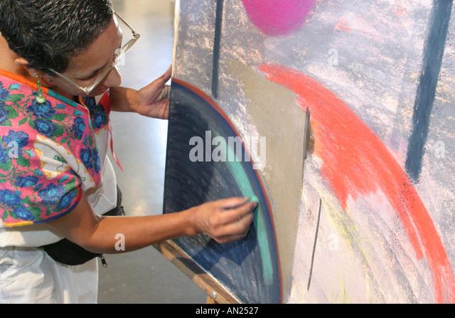Albuquerque New Mexico State Fair Arts exhibits HF artist pastels W - Stock Image