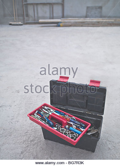 Tools in toolbox at construction site - Stock Image