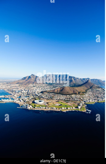 geography / travel South Africa Cape Town aerial photograph mounts mount coasts shores city view cityscape city - Stock Image
