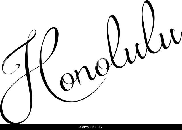 Honolulu text sign illustration on white background - Stock Image