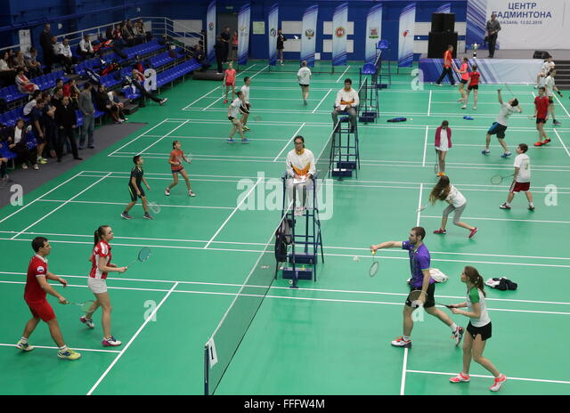 Kazan, Russia. 13th Feb, 2016. Participants in a badminton competition held as part of the opening of the Kazan - Stock Image