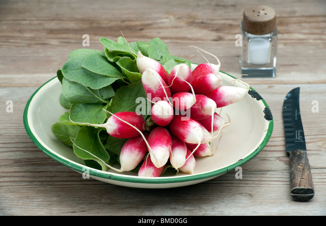 A Bunch Of Fresh French Breakfast Radish In A Enamel Dish, With A Knife and Salt Pot On A Wooden Kitchen Table - Stock Image