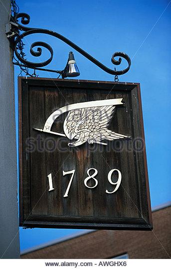 USA, Washington, D.C., Georgetown, 1789, wooden sign above restaurant - Stock Image