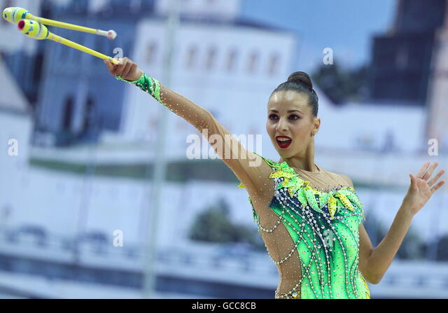 KAZAN, RUSSIA - JULY 8, 2016: Georgian rhythmic gymnast Natela Bolataeva performs her clubs routine during the Individual - Stock Image