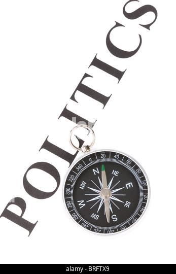 headline politics and Compass, concept of politics decision - Stock Image