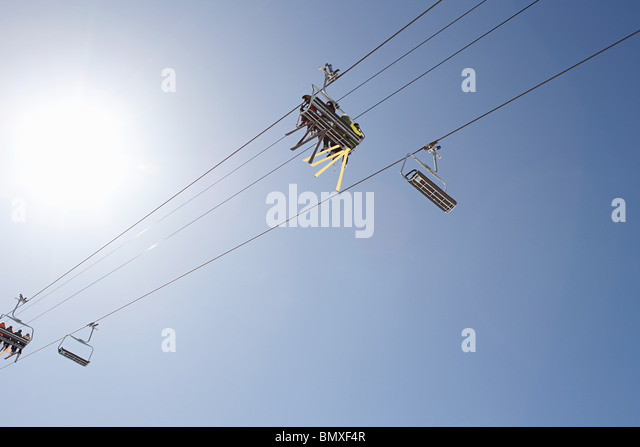 Low angle view of ski lift - Stock Image