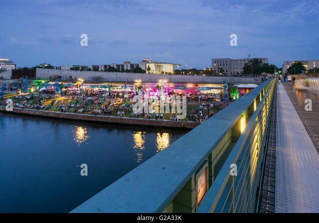 Berlin, Germany, river, Spree, capital  beach cafe, new federal chancellery, - Stock Image