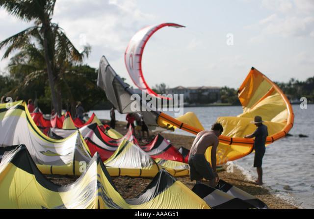 Florida, kite surfers, wind, recreation, sport, - Stock Image