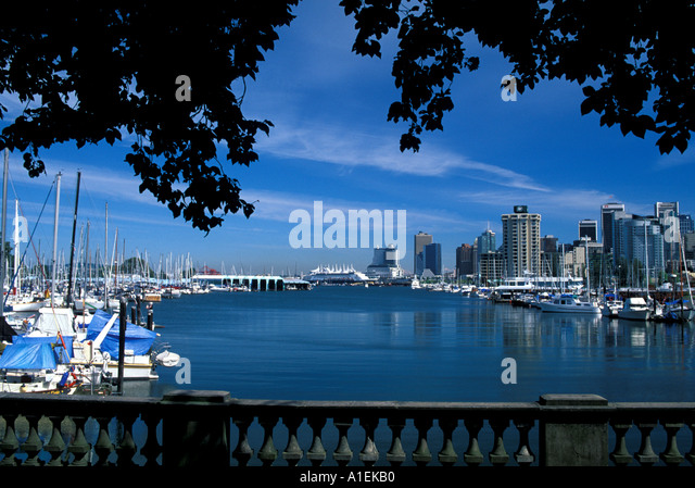 Vancouver Canada City Scenic Skyline from Stanley Park - Stock Image