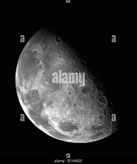 This view of the Moon's north pole - Stock Image