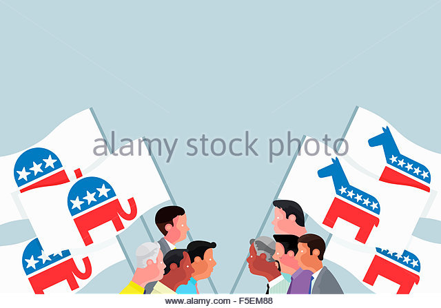 Republican and Democrat campaigners carrying flags with donkey and elephant symbols - Stock Image