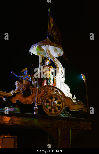 Sculptures of a chariot of lord Krishna and Arjuna at the entrance of Ganga ghat, Muni Ki Reti, Rishikesh, Uttarakhand, - Stock Image