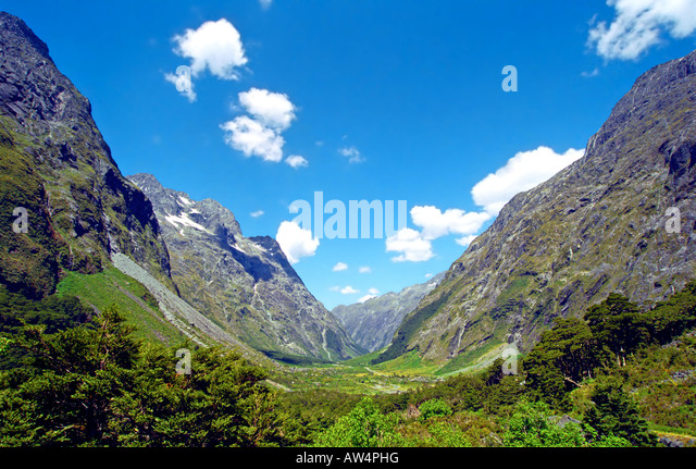 road to milford sound n.z. - Stock Image