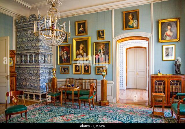 geography / travel, Latvia, Bauska, Rundale Castle,baroque, rococo, summer residence, Latvija, hall, halls, chandelier, - Stock-Bilder