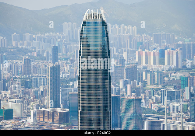 Two International Finance Centre IFC2, Hong Kong, China SAR. Until 2010 the tallest skyscraper in HK. Kowloon in - Stock Image