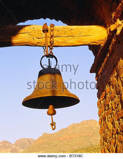 Bell at church at San Jose de Tumacacori Spanish Franciscan mission church Tumacacori National Monument Arizona - Stock Image