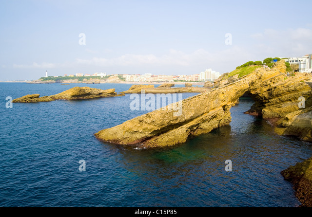 Natural Arch, Grande Plage, Biarritz, Aquitaine, France - Stock Image