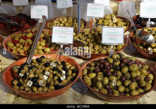 olive stall Kings Road food market Chelsea London - Stock Image