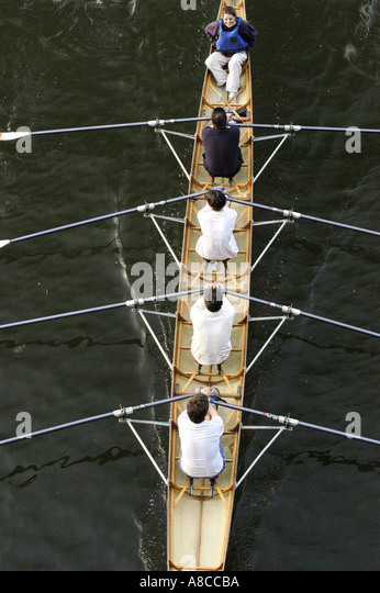 Sports in Paris France Five French Women Rowing on 'Seine River' 'High Angle' Boating - Stock Image
