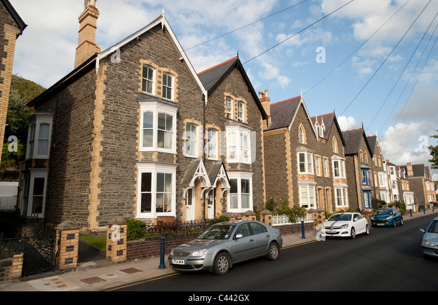 A row of Solidly built 1930's semi detached town houses in Aberystwyth, Ceredigion, Wales UK - Stock Image