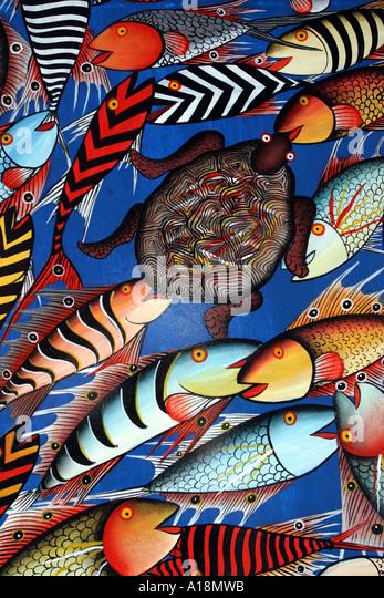 ZANZIBAR - Tinga Tinga painting - Stock-Bilder