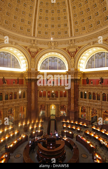 The Main Reading Room in the Library of Congress, Washington DC, USA - Stock-Bilder