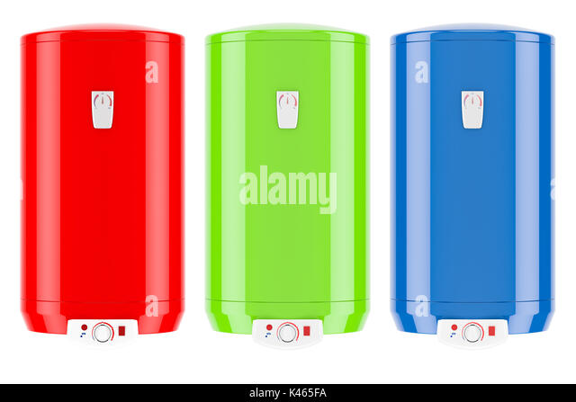 set of colored electric water heaters or boilers, 3D rendering isolated on white background - Stock Image