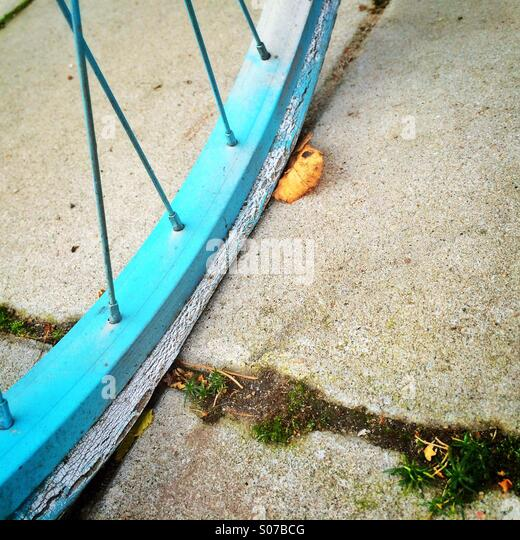 Flat bicycle tire on street during autumn - Stock Image