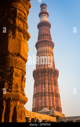 Qutub Minar (The Qutub Tower?), also known as Qutb Minar and Qutab Minar, is the tallest minar (73 metres) in India - Stock-Bilder