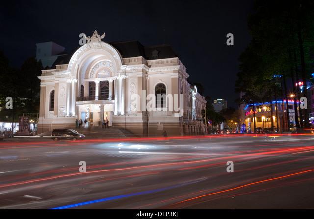 The Saigon Opera House, (a.k.a. the Municipal Theatre of Ho Chi Minh City), at night in Ho Chi Minh City (Saigon), - Stock-Bilder