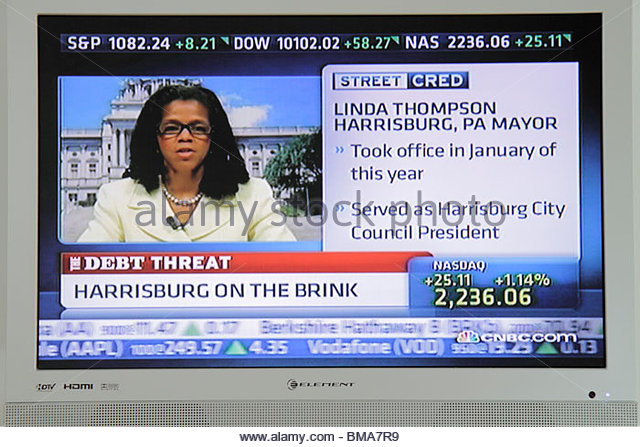 CNBC news Harrisburg Pennsylvania Chapter 9 bankruptcy debt financial crisis mayor Linda Thompson TV television - Stock Image