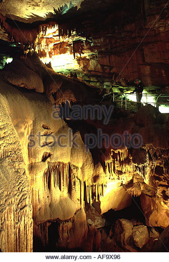 Kentucky Appalachian Mammoth Cave National Park Frozen Niagara limestone formation 75 foot high 50 foot wide 10 - Stock Image