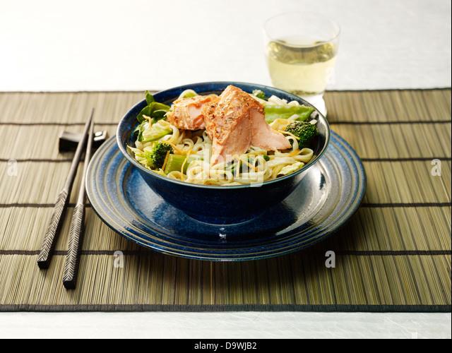 salmon pasta - Stock Image