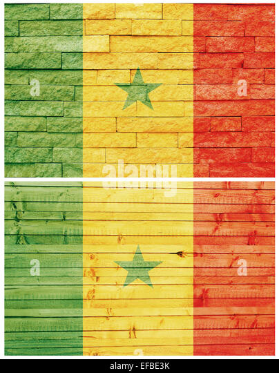 Vintage wall flag of Senegal collage - Stock Image