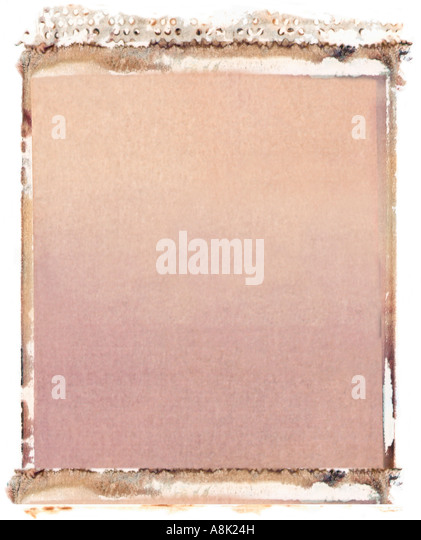 Blank 4x5 format polaroid transfer on white background - Stock Image